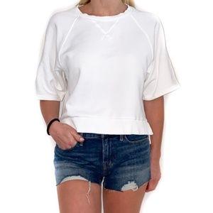 Madewell Short Sleeve Crop Sweatshirt in White